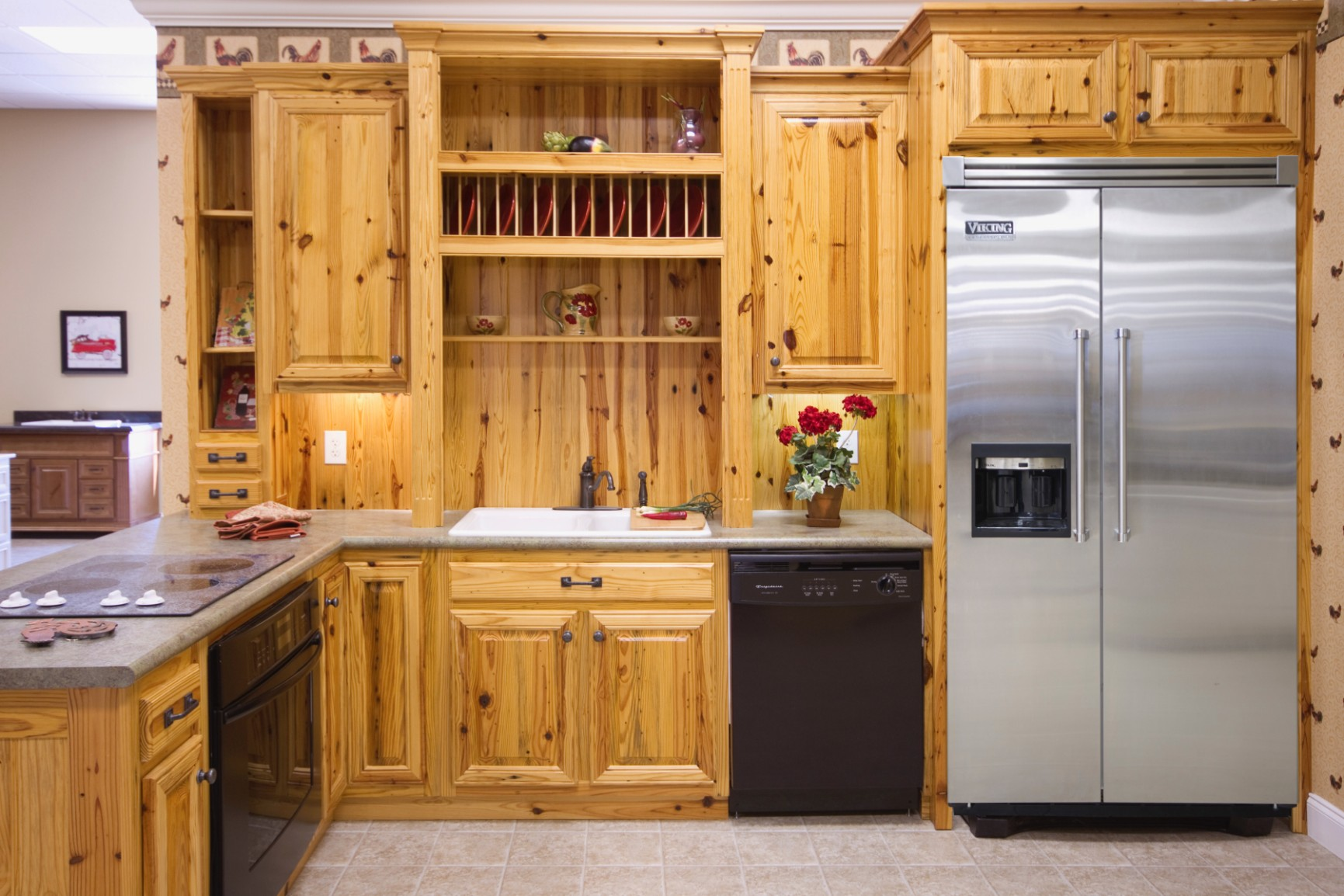 Pine kitchens wood hollow cabinets for Pictures of wood kitchen cabinets